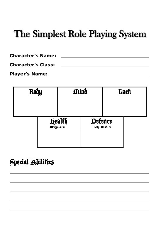 The Simplest Role Playing System – Part 2