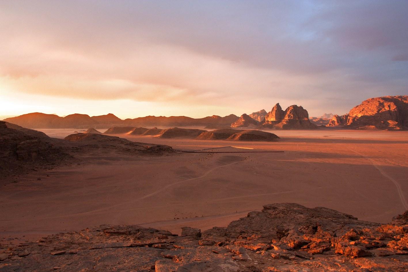 Sunset on the Wadi Rum Desert in Jordan. Picture from www.wadirum.jo
