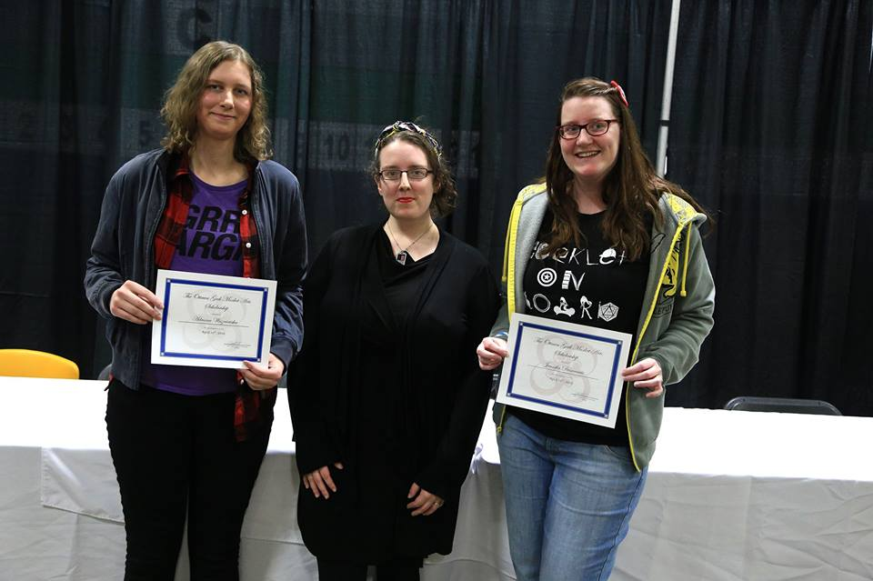 "We're pleased to announce that the following participants won the writing scholarships!  Science-fiction: Agnes Cadieux (""Mikey"") Horror: Adriana Wiszniewska (""Salvation"") Fantasy: Jennifer Desmarais (""The Painting"")... See more — with Marie Victoria Robertson and Jen Desmarais."