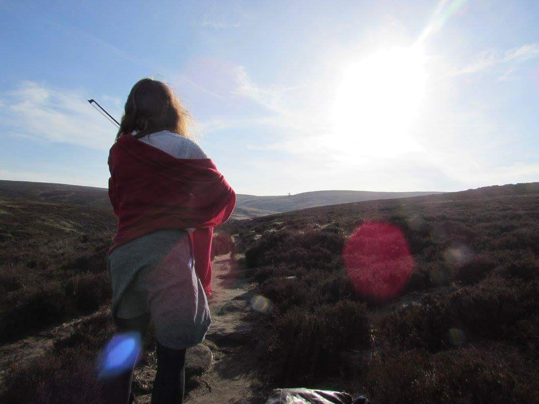 Karin playing her fiddle on the moors. Picture by Jasmine.