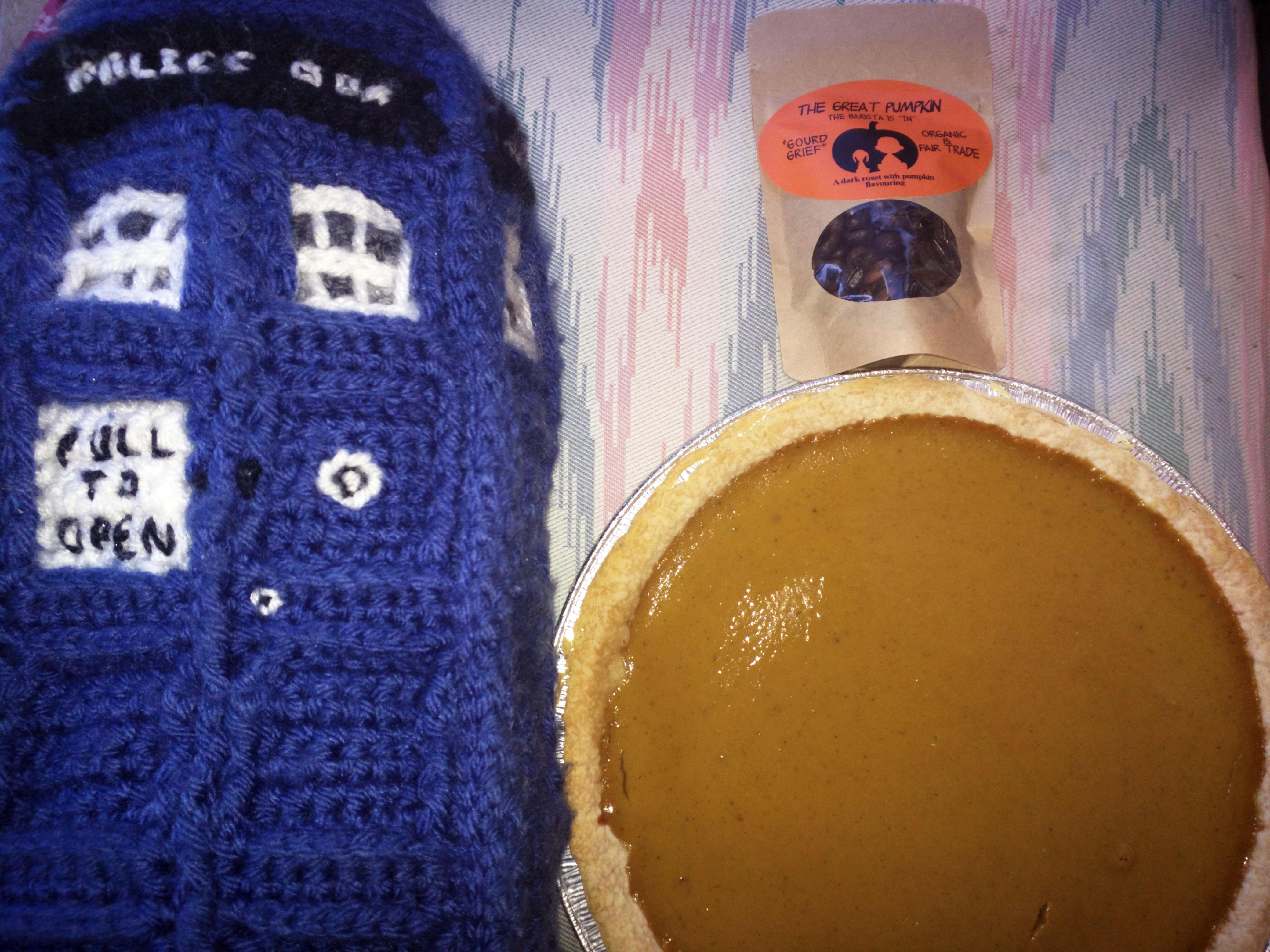 Tardis, pie, and coffee